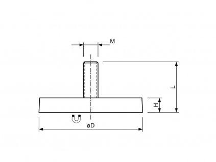 Neodymový pogumovaný magnet s vnějším závitem 12x15,5x7,5 mm