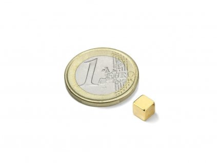 Neodymový magnet hranol 5x5x5mm, Neodym, N42, pozlacený