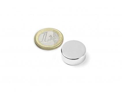 Neodymový magnet válec D20x7mm, Neodym, N42, poniklovaný