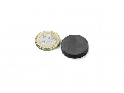 Feritový magnet válec D25x5mm, Ferit, Y35, bez povrchové úpravy