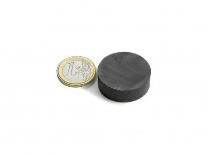 Feritový magnet válec D30x10mm, Ferit, Y35, bez povrchové úpravy