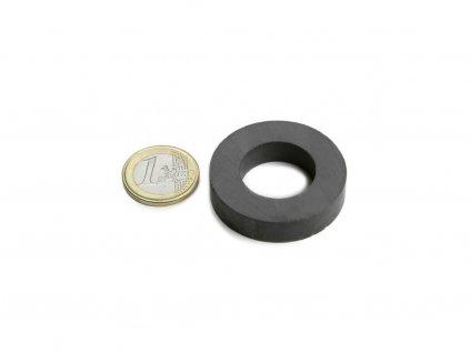 Feritový magnet mezikruží D40/22mm, H9mm, Ferit, Y35, bez povrchové úpravy