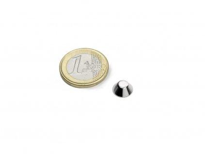 Neodymový magnet kónický D10/5mm, H4mm, Neodym, N45, poniklovaný