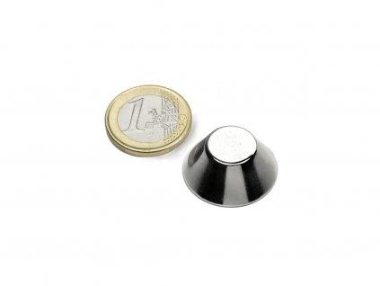 Neodymový magnet kónický D25/13mm, H10mm, Neodym, N38, poniklovaný