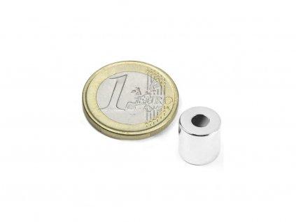 Neodymový magnet mezikruží D10/4mm, H10mm, Neodym, N42, poniklovaný