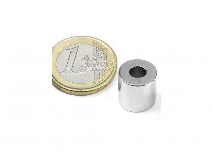 Neodymový magnet mezikruží D12/5mm, H12mm, Neodym, N42, poniklovaný