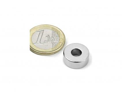 Neodymový magnet mezikruží D15/6mm, H6mm, Neodym, N42, poniklovaný
