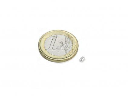 Neodymový magnet válec D2x3mm, Neodym, N45,poniklovaný