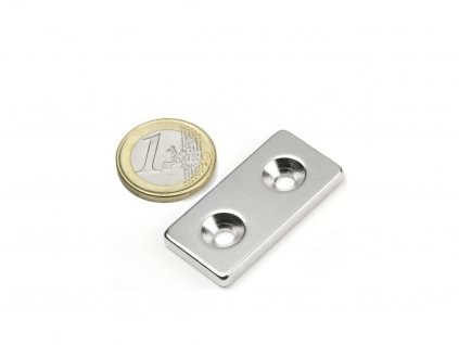 Neodymový magnet hranol 40x20x4mm,s vrtáním a zahloubením, N35,poniklovaný