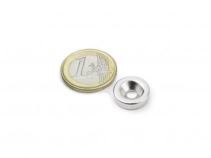 Neodymový magnet mezikruží D15/4.5 mm, H 4mm,s vrtáním a zahloubením, N35,poniklovaný