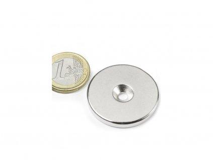Neodymový magnet mezikruží D34/4.5 mm, H 4mm,s vrtáním a zahloubením, N35,poniklovaný