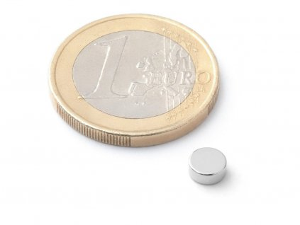 Neodymový magnet válec D5x2 mm, Neodym, N42, poniklovaný