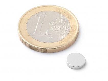 Neodymový magnet válec D7x1.2 mm, Neodym, N38, poniklovaný