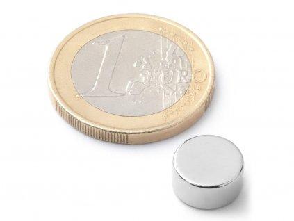 Neodymový magnet válec D10x5 mm, Neodym, N38, poniklovaný