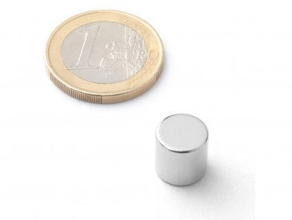 Neodymový magnet válec D10x10 mm, Neodym, N42, poniklovaný