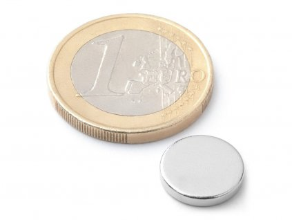 Neodymový magnet válec D12x2 mm, Neodym, N42, poniklovaný