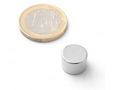 Neodymový magnet válec D12x8 mm, Neodym, N42, poniklovaný