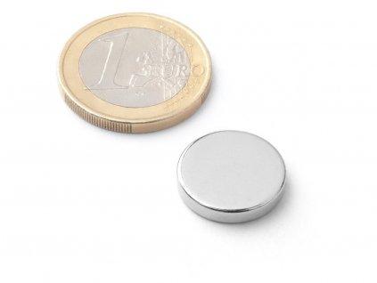 Neodymový magnet válec D16x3 mm, Neodym, N38, poniklovaný