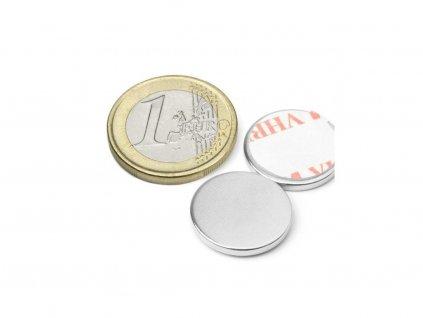 Neodymový magnet válec (samolepící) D18x2 mm, Neodym, N38, poniklovaný