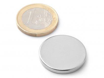 Neodymový magnet válec D25x3 mm, Neodym, N42, poniklovaný