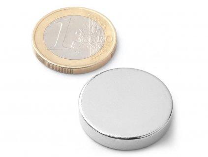 Neodymový magnet válec D25x5 mm, Neodym, N38, poniklovaný