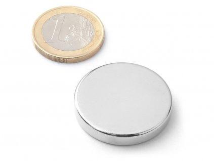 Neodymový magnet válec D30x5 mm, Neodym, N38, poniklovaný