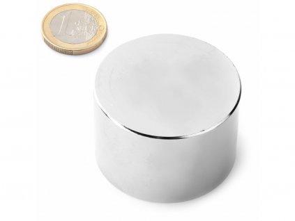 Neodymový magnet válec D45x30 mm, Neodym, N42, poniklovaný