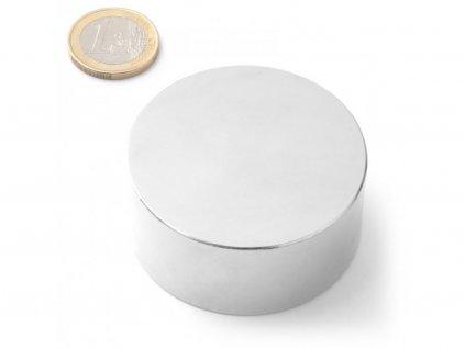 Neodymový magnet válec D55x25 mm, Neodym, N42, poniklovaný
