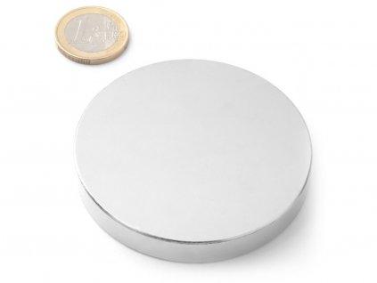 Neodymový magnet válec D70x10 mm, Neodym, N38, poniklovaný