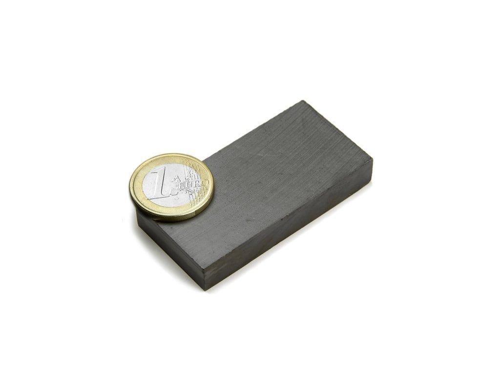 Feritový magnet hranol 60x30x10mm, Ferit, Y35, bez povrchové úpravy