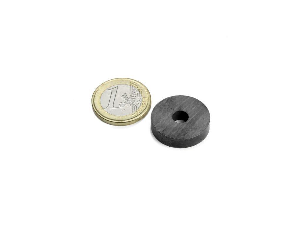 Feritový magnet mezikruží D22/6mm, H5mm, Ferit, Y35, bez povrchové úpravy