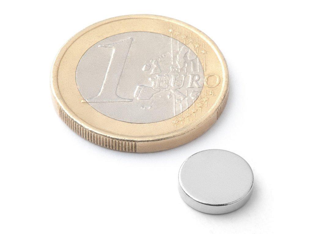 8567 neodymovy magnet valec d 10x2 mm neodym n42 poniklovany