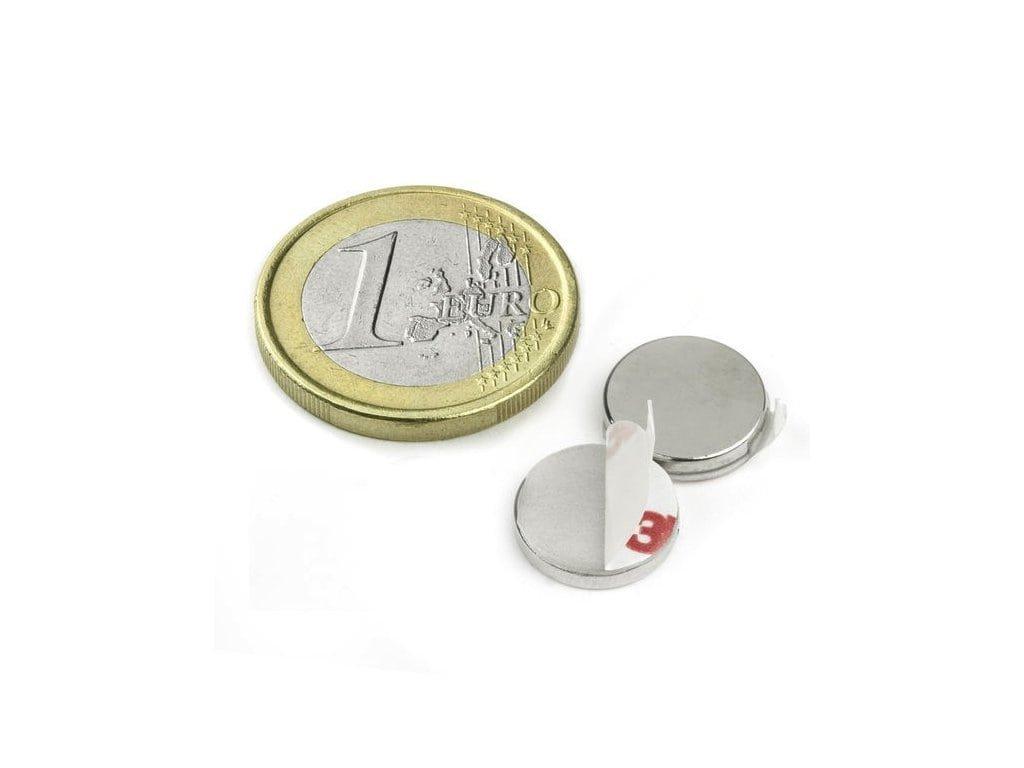 8618 neodymovy magnet valec samolepici d 12x2 mm neodym n40 poniklovany