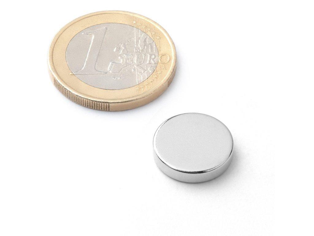 8642 neodymovy magnet valec d 14x3 mm neodym n42 poniklovany