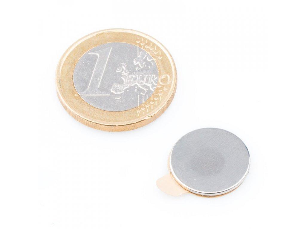 8651 neodymovy magnet valec samolepici d 15x1 mm neodym n40 poniklovany
