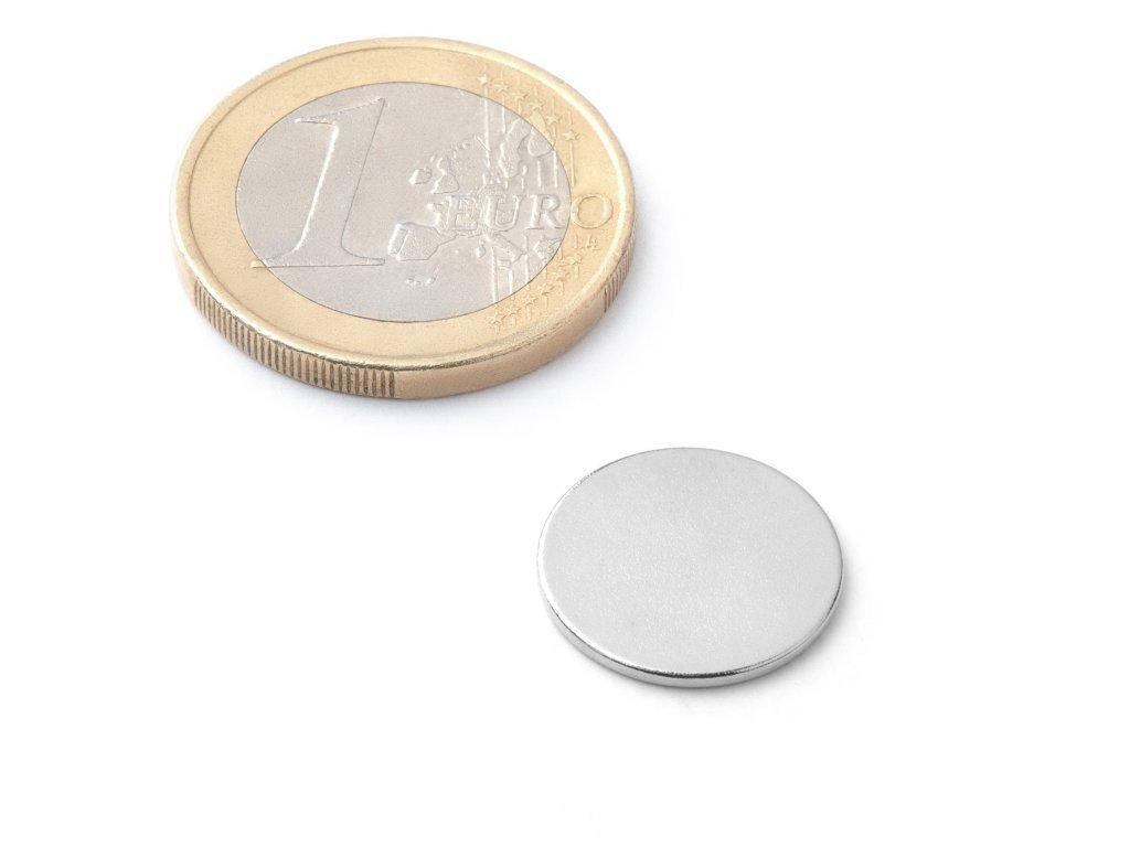 8654 neodymovy magnet valec d 15x1 mm neodym n38 poniklovany