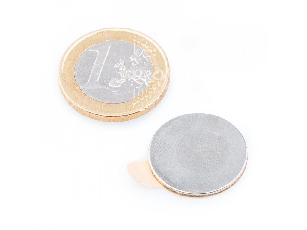 8702 neodymovy magnet valec samolepici d 20x1 mm neodym n40 poniklovany