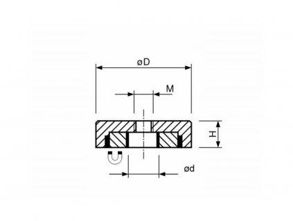 NdFeB magnetická čočka se středovým závitem