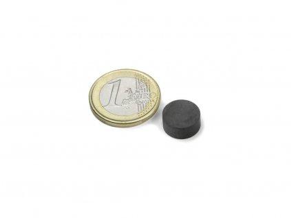 Feritový magnet válec D12x5mm, Ferit, Y35, bez povrchové úpravy