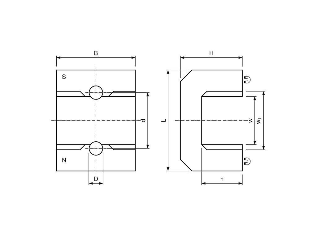 AlNiCo magnetická podkova oblúk 8x70x41 mm