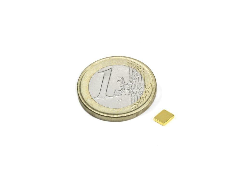 Neodymový magnet hranol 5x4x1 mm, NdFeB, N50, pozlátený