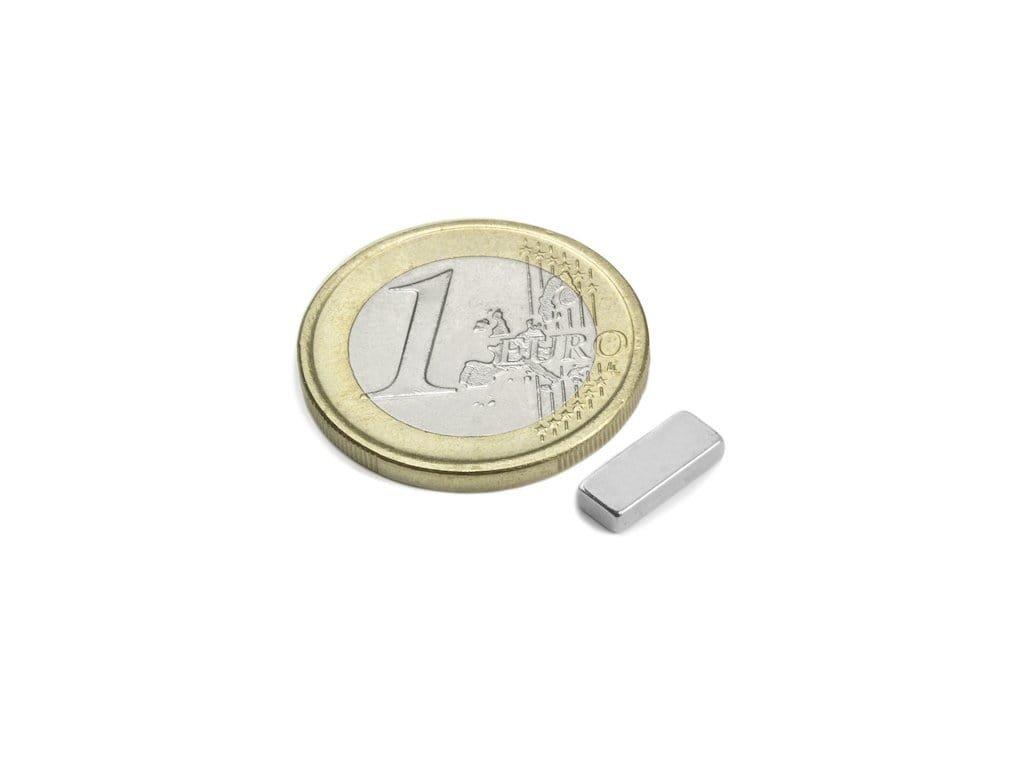 Neodymový magnet hranol 10x4x2mm, NdFeB, N50, ponikelovaný