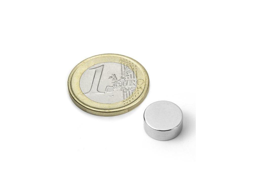 Neodymový magnet valec D12x5mm, Neodym, N45, ponikelovaný