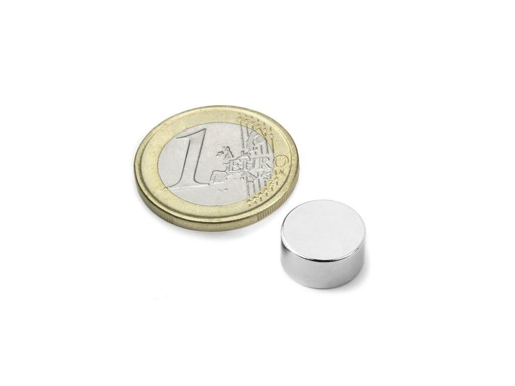 Neodymový magnet valec D12x6mm, Neodym, N45, ponikelovaný