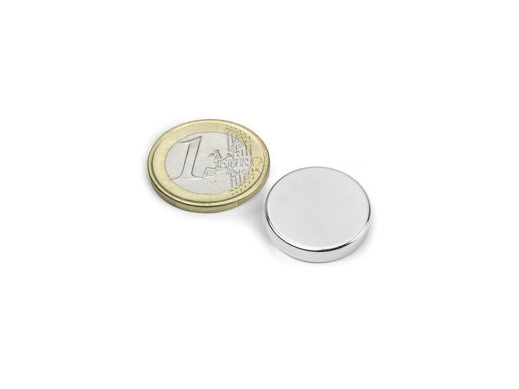 Neodymový magnet valec D20x4mm, Neodym, N42, ponikelovaný