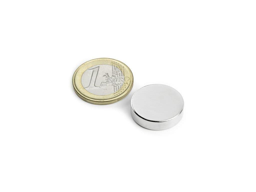 Neodymový magnet valec D20x6mm, Neodym, N42, ponikelovaný