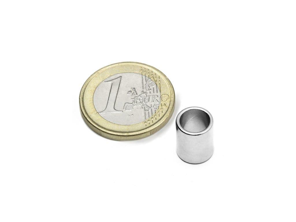 Neodymový magnet medzikružie D9/7mm, H11mm, Neodym, N50, ponikelovaný