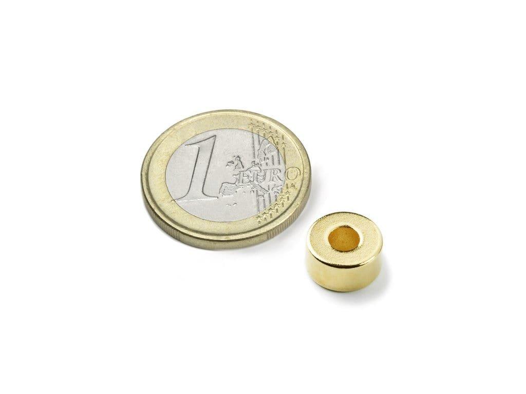 Neodymový magnet medzikružie D10/4mm, H5mm, Neodym, N42, pozlátený