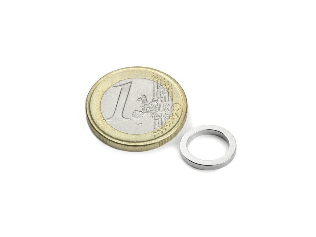 Neodymový magnet medzikružie D12/9mm, H1.5mm, Neodym, N45, ponikelovaný