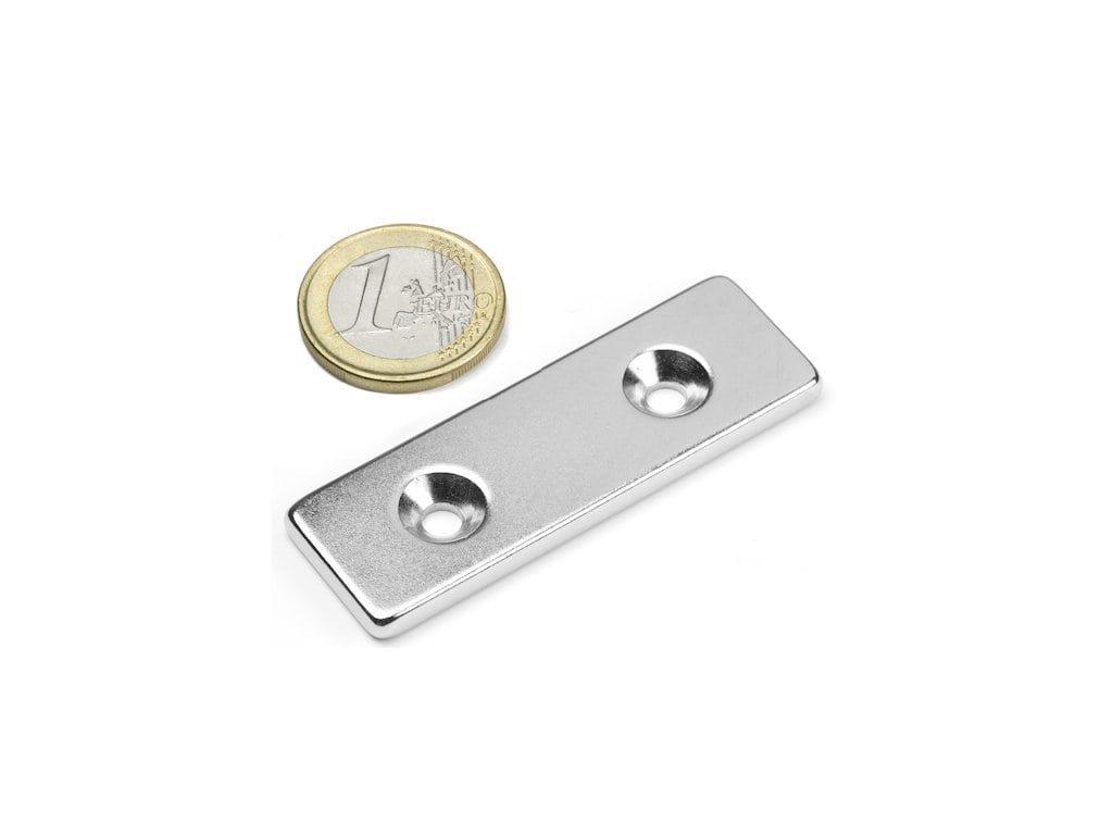 Neodymový magnet hranol 60x20x4mm,s vrtaním a zahĺbením, N35,ponikelovaný